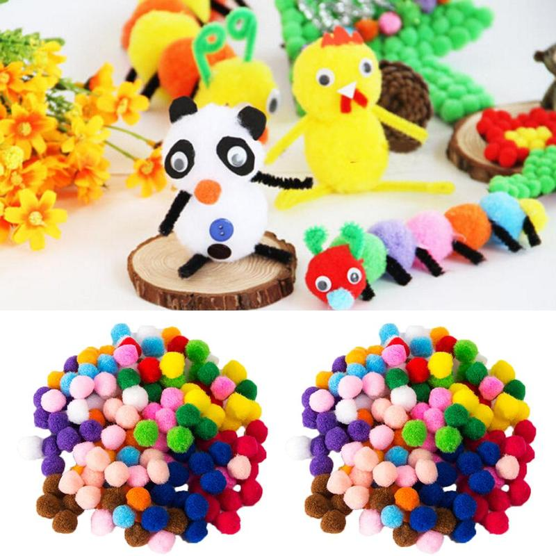 2000 Pcs/bag 8mm Mixed Color Soft Fluffy Pom Poms Diy Toys For Kindergarten Mixed Color Soft Fluffy Pompoms Diy Snow Balls