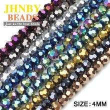 JHNBY бусины граненой формы из австрийского хрусталя, цветные круглые бусины, 100 шт, 4 мм, аксессуары для ювелирных браслетов, сделай сам