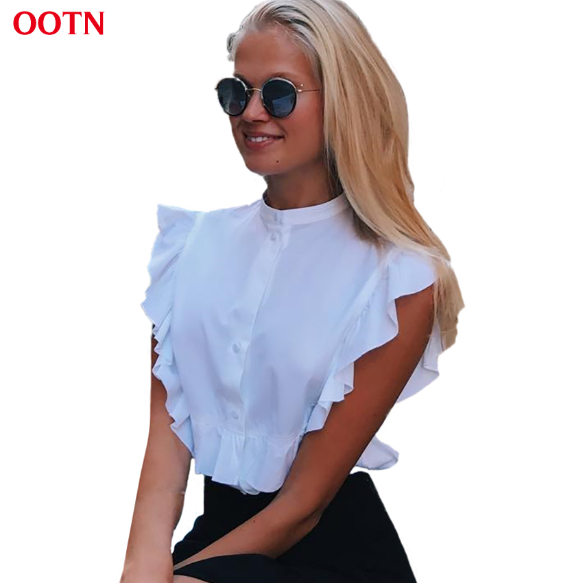 OOTN 2018 Summer Sleeveless White Tunic Blouses Women Ruffled Button Down Crop Tops Female Short Shirts Ladies Office Fashion