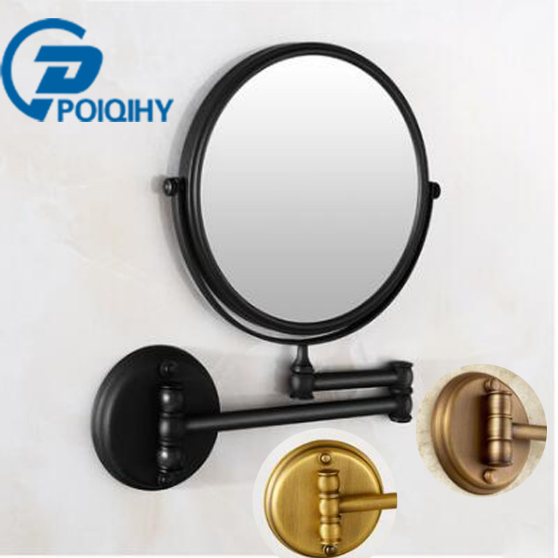 POIQIHY Antique 8 Double Side Bathroom Folding Brass Shave Makeup espelho Wall Mounted Extend with Arm Round Magnifying