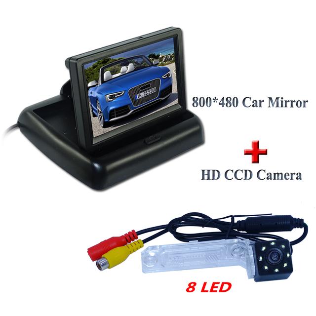 """8 led de Plástico material do escudo do carro estacionamento camera + tela lcd a cores de carro monitor de 4.3 """"para Volkswagen PASSAT B5/Jetta/Touran/Caddy"""