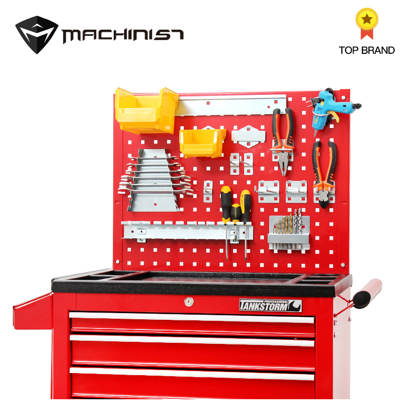Auto Repair Tool Steel Plate Tools Cart Hook Fittings Trolley Multifunction Plastic Box Wheel Cabinet Hanging Steel Holes Board
