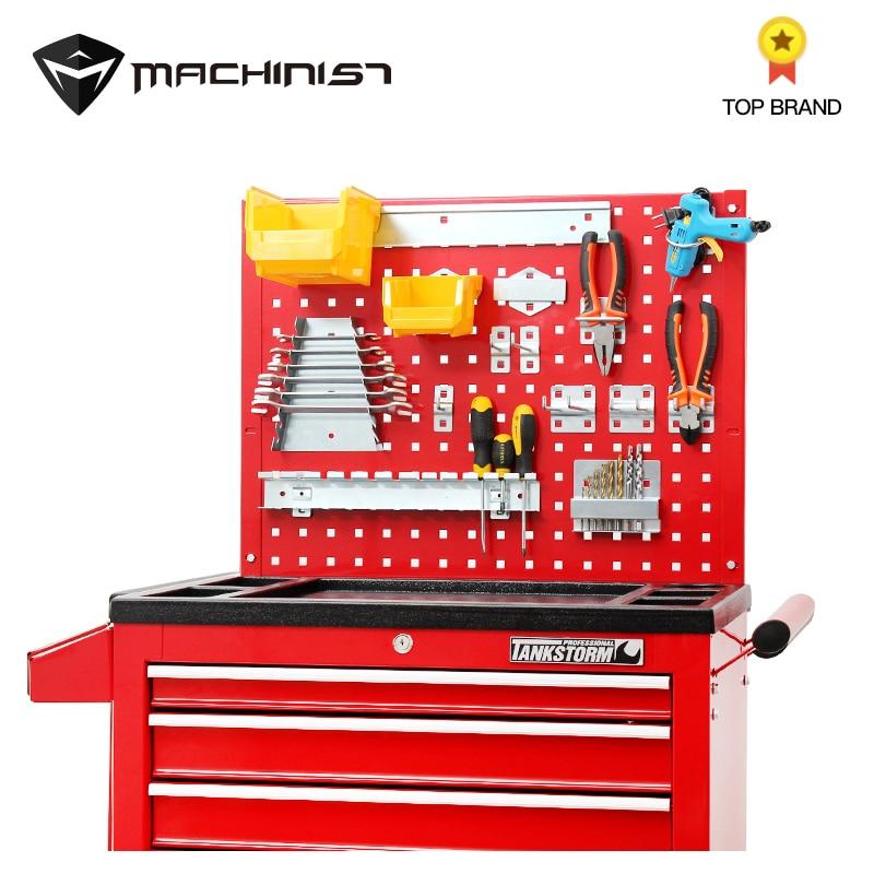 Auto Repair Tool Steel Plate Tools Cart Hook Fittings Trolley Multifunction Plastic Box Wheel Cabinet Hanging Steel Holes Board