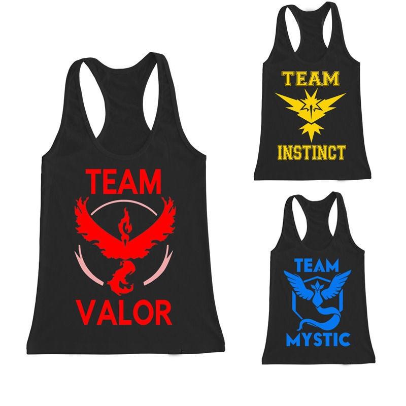 Pokemon Go Vest Team Valor Team Mystic Team Instinct Pokeball Vest Tops T-shirt Pokemon Vest
