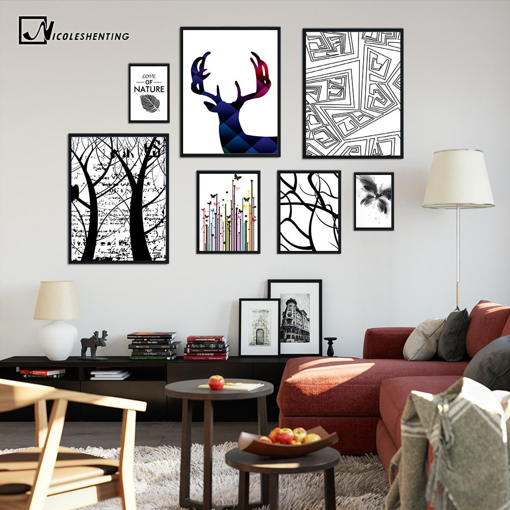 Decorador de arboles de navidad 187 home design 2017 - Nordic Deer Decoraci N Flor Rbol Posters And Prints Minimalista Pared Del Arte Abstracto De La Lona