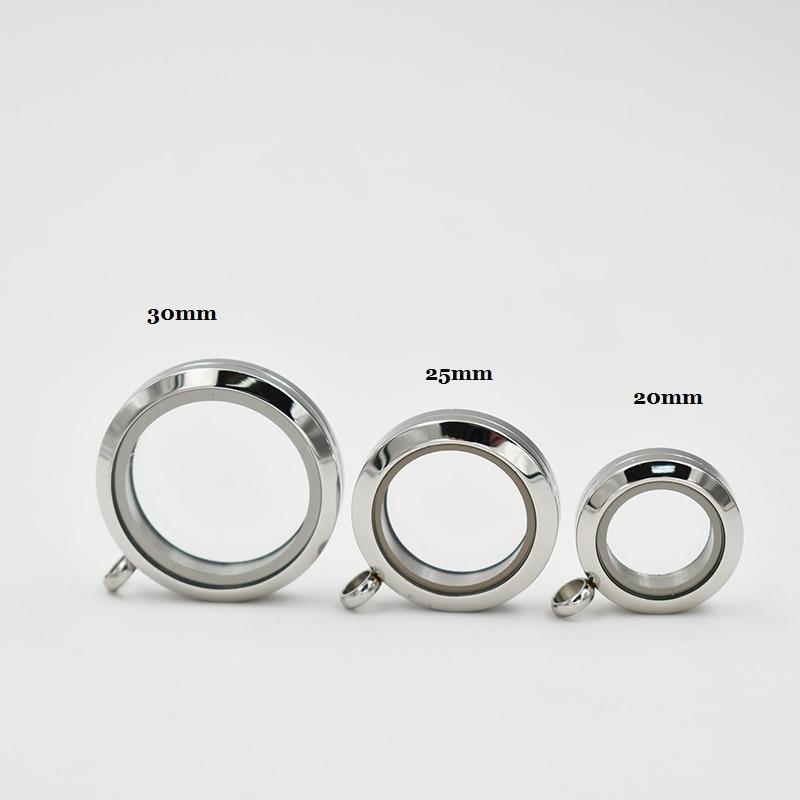 Round Stainless Steel Floating Locket Silver Plain Screw Twist Living Glass Memory Pendant 10pcs