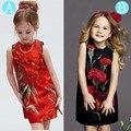 Americano meninas crianças vestido sem mangas colete vestido de primavera flor impressa estilo vintage ropa de bebe de menina vestido