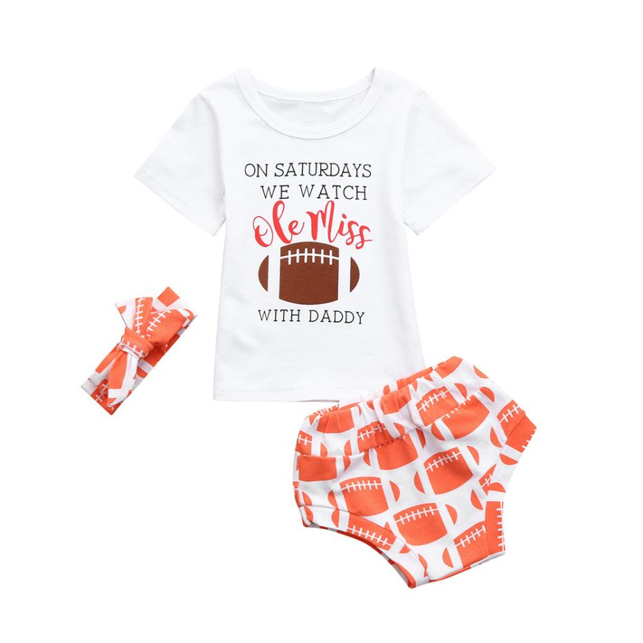 3Pcs baby Girls clothes set Infant Baby Girls Letter Football Tops T Shirt  Shorts Outfits Clothes Set 6c1ae1293e37