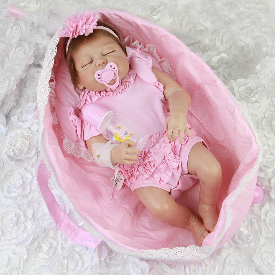 57 cm muñecas de bebé Reborn realista durmiendo en cesta Rosa 23 ''bebés muñeca de vinilo de cuerpo completo Bebe juguete los niños Playmantes-in Muñecas from Juguetes y pasatiempos    2
