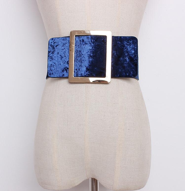 Women's Runway Fashion Velvet Pu Leather Cummerbunds Female Dress Corsets Waistband Belts Decoration Wide Belt R1289