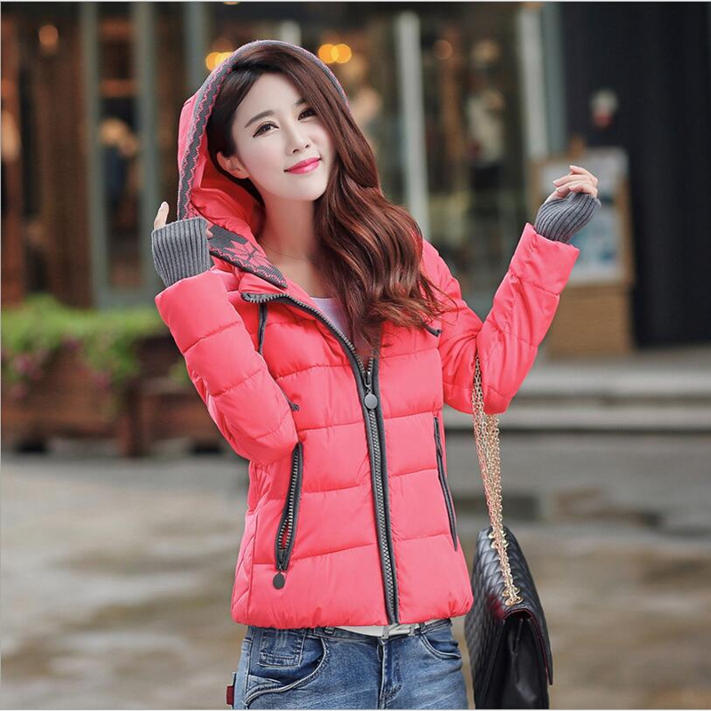 ФОТО 2017 Winter Fashion Casual Clothing Brand Women  Coat Hooded Outwear Cotton Padded Warm Parka Woman Short Wadded Jacket P954