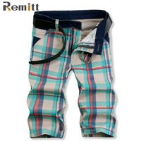 Mens Short Jeans Designer Clothes 2017 Brand New Summer Plaid Denim Straight Short Half Jeans Overall