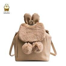 Beibaobao New Brand 2019 Pu Leather Girl s Fashion Backpack Crossbody Women s  Bags Cute Hairy Rabbit Ears 32bd95ed0458d