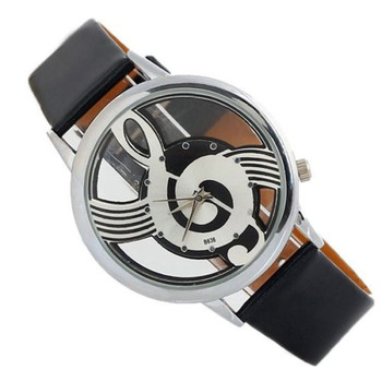 Fashion statement 2018  hot sale Ladies Fashion Watch Creative music symbol shaped dial Fashion dress ladies Watches Leather