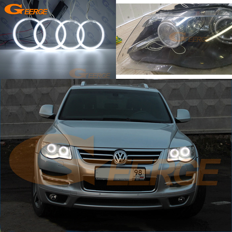 For Volkswagen VW Touareg 2007 2008 2009 2010 Xenon headlight Excellent angel eyes Ultra bright illumination CCFL Angel Eyes kit for land rover freelander lr2 2007 2008 2009 2010 xenon headlight excellent ultra bright illumination smd led angel eyes kit