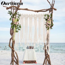 OurWarm Macrame Wedding Backdrop Bohemian Photo DIY Decoration Wedding Party Supplies Home Room Wall Decor Boho Curtain