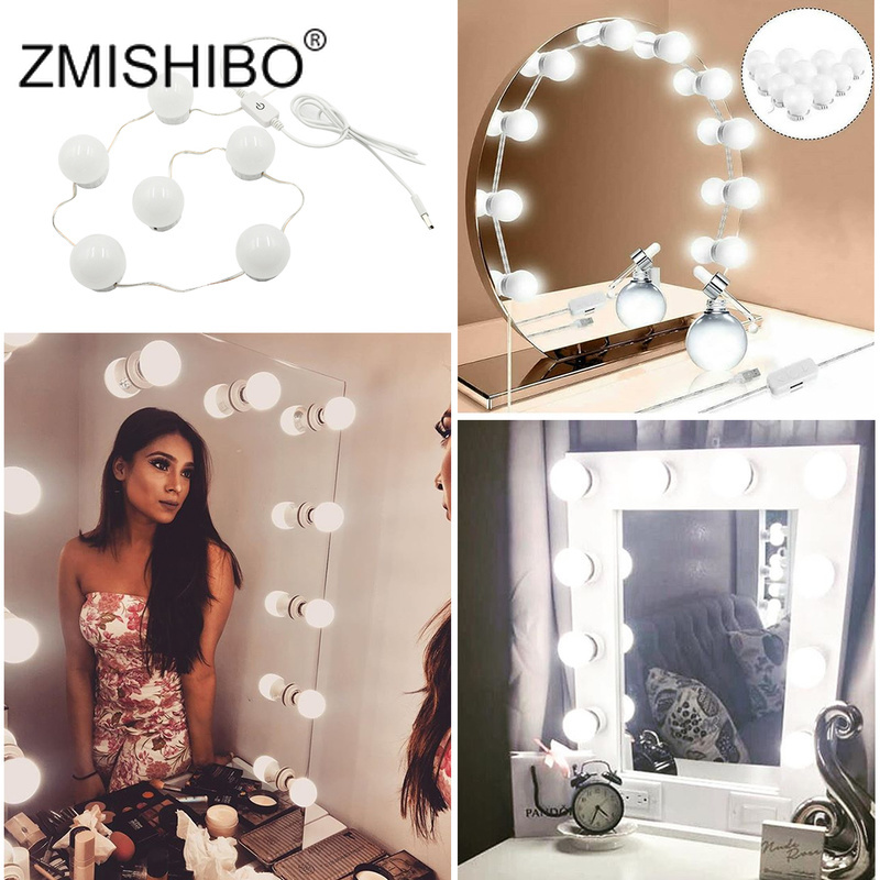 ZMISHIBO LED Bulb Wall Mirror Lamp USB Strips DC 5V Hollywood Style Makeup Dimmable Decor Dressing Table Night Light