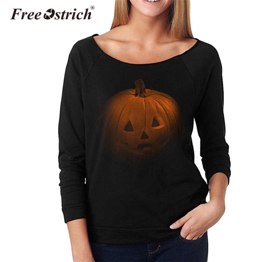 Free Ostrich 2018 Women Halloween Swearshirt Pullover Pumpkin Print Ladies Sweater Long Sleeve Casual Pullover Sep22