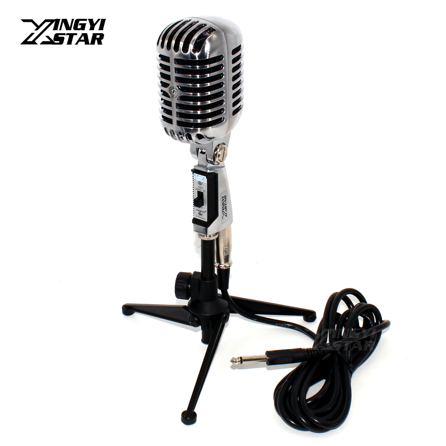 Professional Switch Retro Style Wired Dynamic Microphone Stand Vintage Mic 6.5mm Jack Cable For KTV Karaoke Mixer Audio Console freeboss fb w01 wired dynamic retro microphone vintage style professional karaoke ktv studio mic jazz stage vocal mic