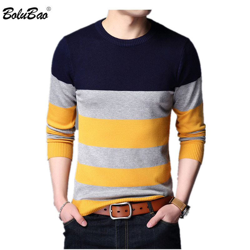 BOLUBAO Men Sweater Pullover Knitted Neck-Patchwork-Quality Male Autumn Casual Fashion-Brand