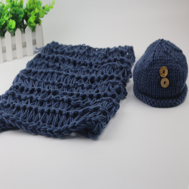 Handmade crochet newborn photography prop knit 0-3 months button beanies +blanket 2 colors baby photo shoot for newborns