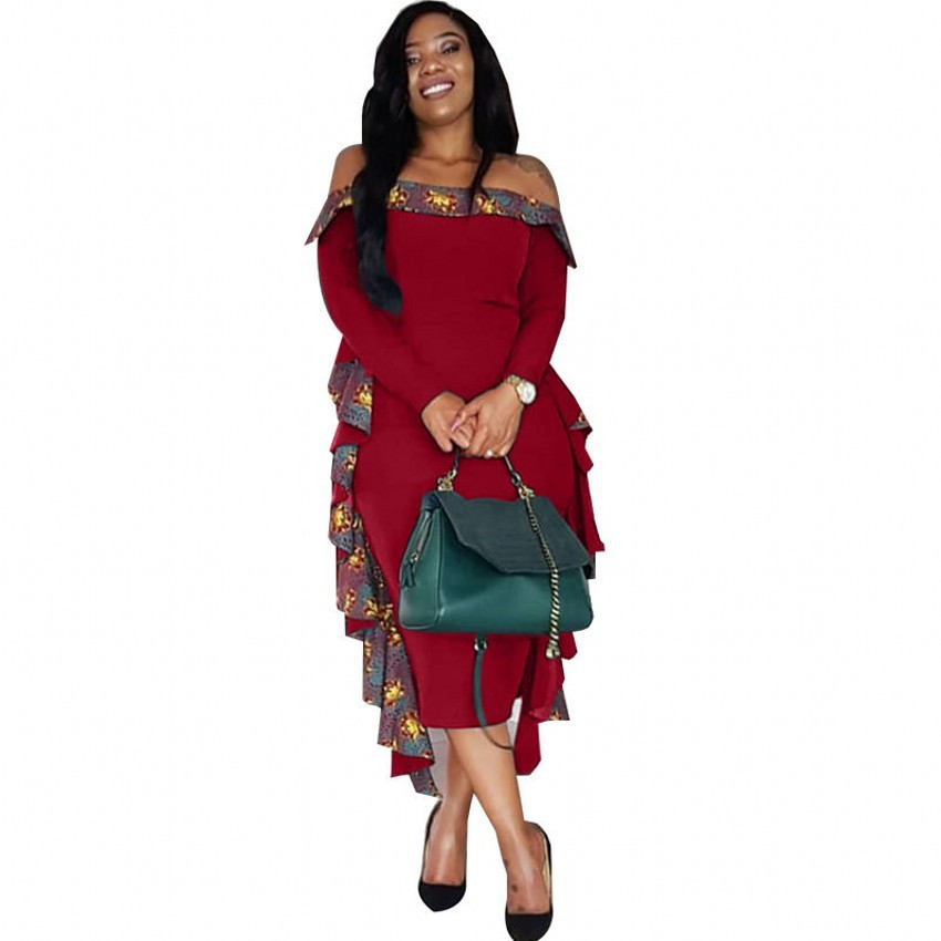 African Dresses For Women 2019 New African Design Bazin Long Sleeve Dashiki Dress For Lady Africa Clothing