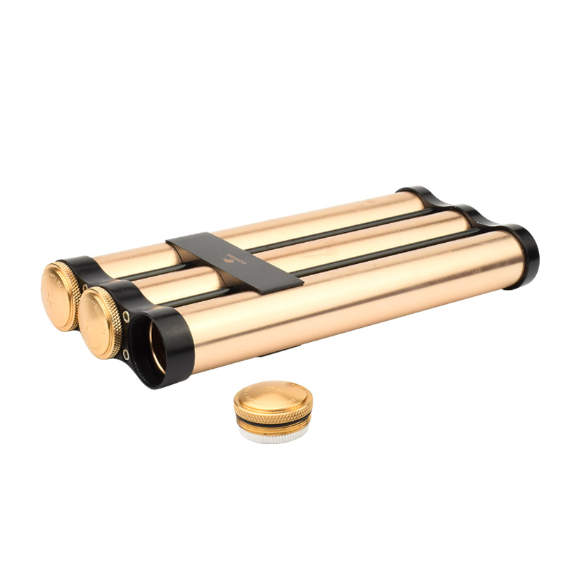 COHIBA Gold Metal Travel Cigar Holder 3 Tube Humidor With Humidifier