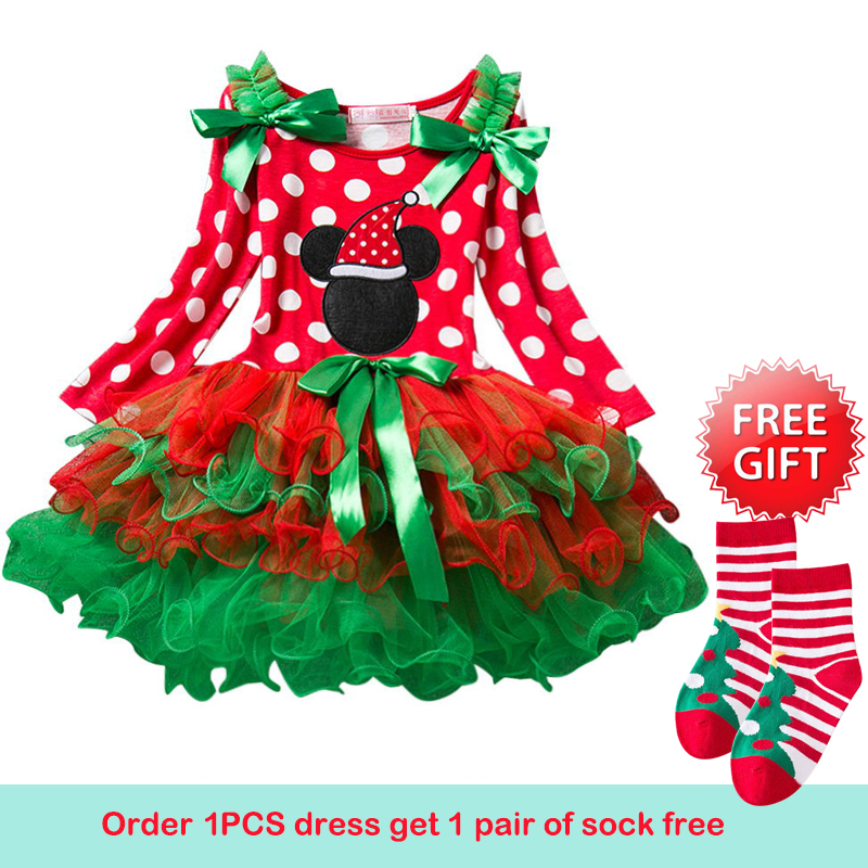 Christmas Cotton Snowman Red Long Sleeve Dress Girl Party Christmas Gown Santa Dresses With Baby Girls Christmas Funny Socks недорого