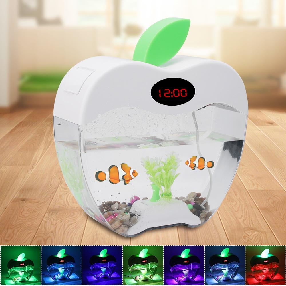 Mini Aquarium d'aquarium de bureau USB avec écran d'affichage à cristaux liquides de lumière de lampe à LED et Aquarium de réservoir de poissons d'horloge