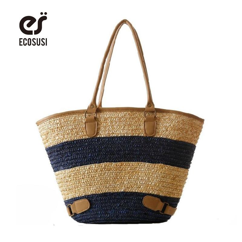 ECOSUSI New Straw Bag Large Capacity Grass Women Bag Striped Ladies Handbags Leisure Beach Bags Tote For Fashion Lady