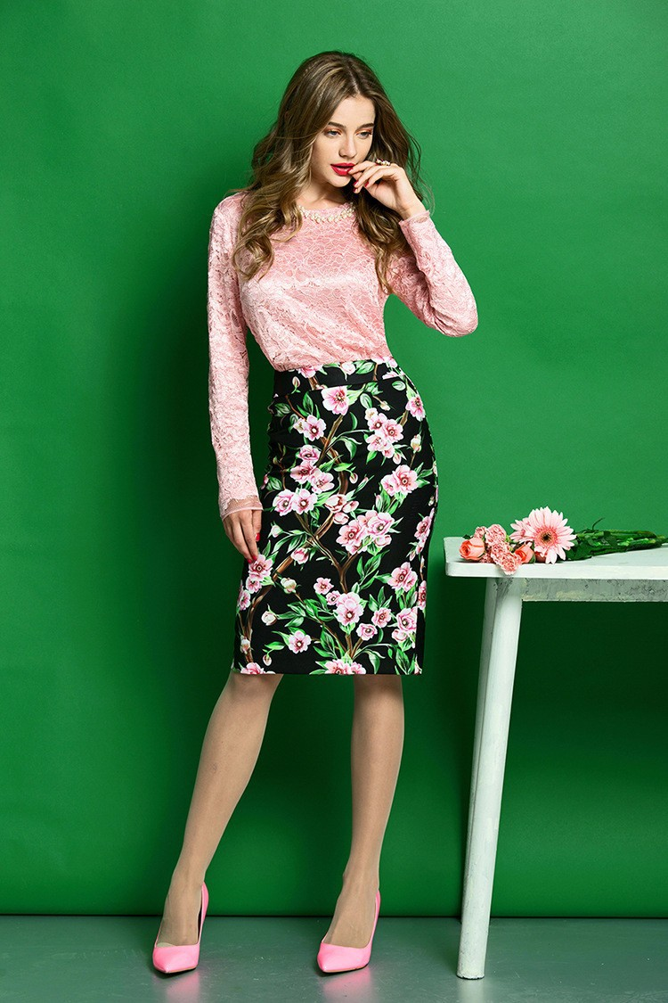 Elegant Women Skirt Suits Long Sleeve Lace Blouse and Floral Print Slim Fit Pencil Skirt Women Business Work Wear (5)