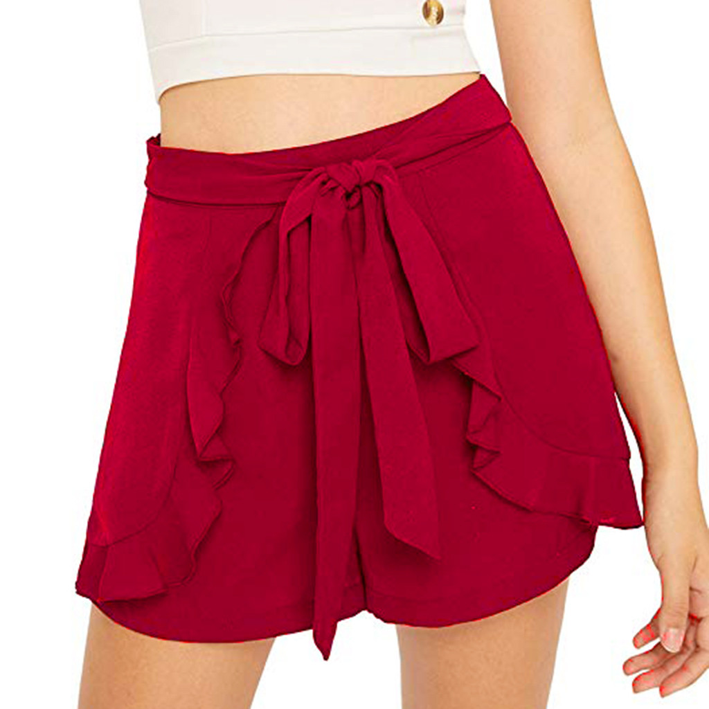 Black Red Ruffles Chiffon Shorts Skirts For Women 2019 Casual High Waist Shorts Ladies High Street Fashion Skort Pantalon Carto
