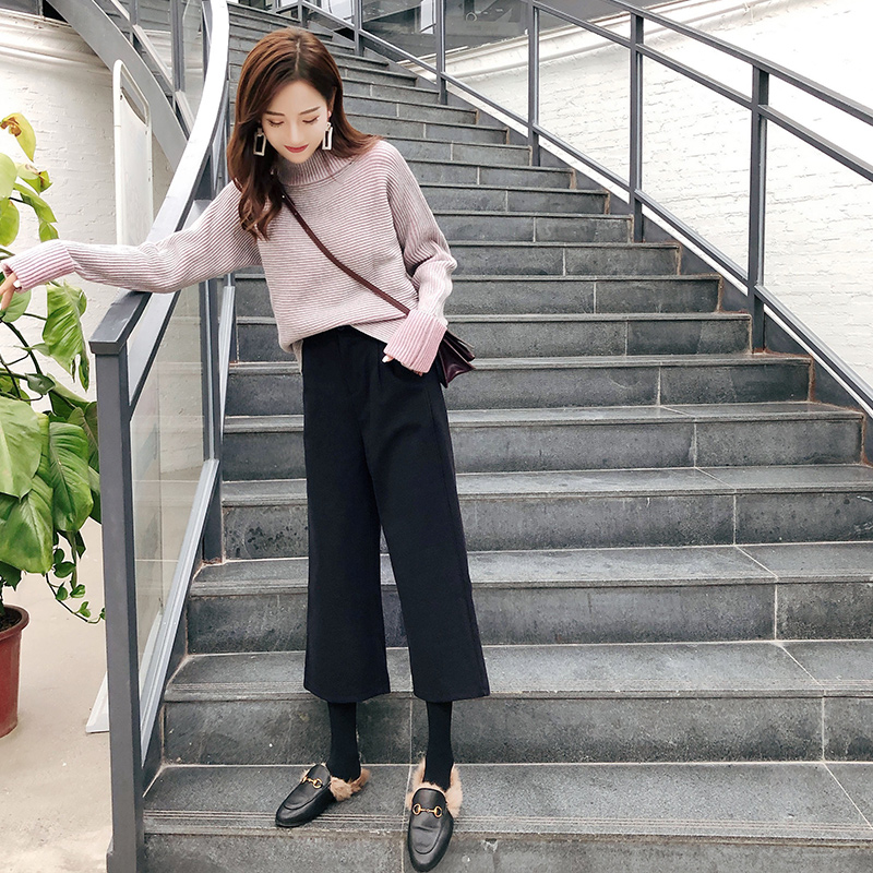 Piedino Donne Gruppi Coreano Di Vestiti Autunno Maglione Selvaggio Delle Pantaloni Modo Larghi Nuovo Colore 1 Allentato Del Solido Due 2018 A FlKcJ1T