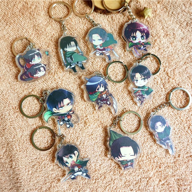 10pcs/set Anime Attack on Titan Shingeki no Kyojin ErenArmin Sasha Sasha Doubleside Print Keychain Pendant llavero Keyring