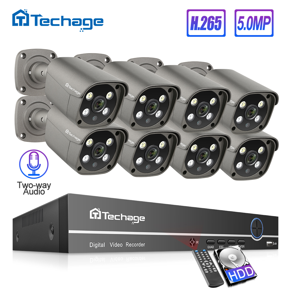 Techage H.265 8CH 5MP POE NVR Kit Security Camera System Two-way Audio IP Camera Outdoor Waterproof CCTV Video Surveillance Set