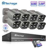Techage H.265 8CH 5MP POE NVR Kit sistema de cámara de seguridad de Audio de dos vías cámara IP al aire libre impermeable CCTV Video vigilancia Conjunto