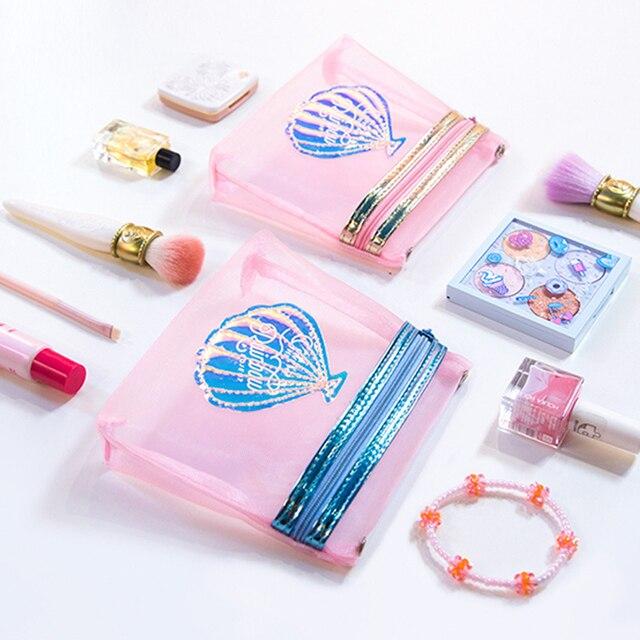 Jalea transparente cepillo cosmético de la bolsa de maquillaje de chica de viaje impermeable lavado caso Harajuku estilo de las mujeres bolsa de herramienta de maquillaje