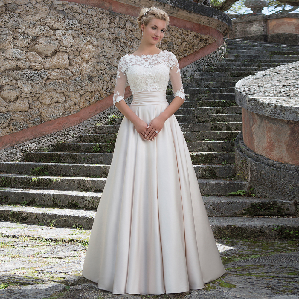2016 New Arrival with Detachable Lace Jacket Wedding Dress Applique ...