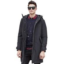 Новая Мода Долго сгущать зимняя Куртка мужчины марка одежды мужской хлопка зимнее пальто Новые высочайшее Качество черный вниз Ветровки мужчины