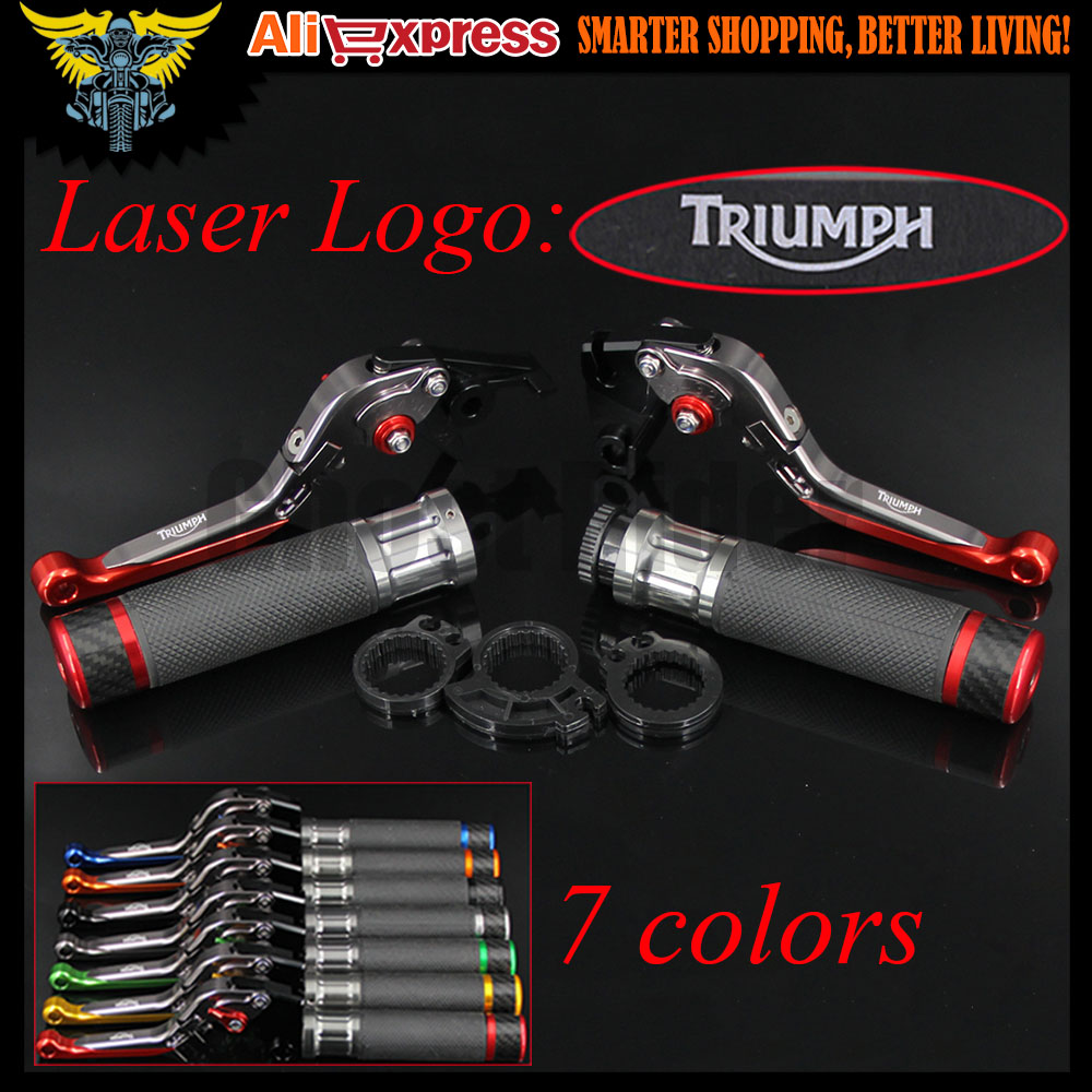 7 Colors Motorcycle CNC Brake Clutch Levers and Handlebar Hand Grips For Triumph BONNEVILLE T120 SCRAMBLER. 675 STREET TRIPLE free shipping for ducati scrambler 2015 2016 motorcycle modified cnc non slip handlebar single folding brakes clutch levers
