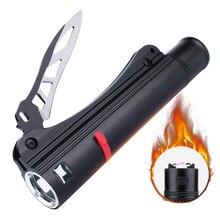 SKYFIRE Водонепроницаемый СВЕТОДИОДНЫЙ Фонарик с Перезаряжаемые Батареи 18650 самообороны Нож USB зарядный Кабель и Дуги Пожар Легче
