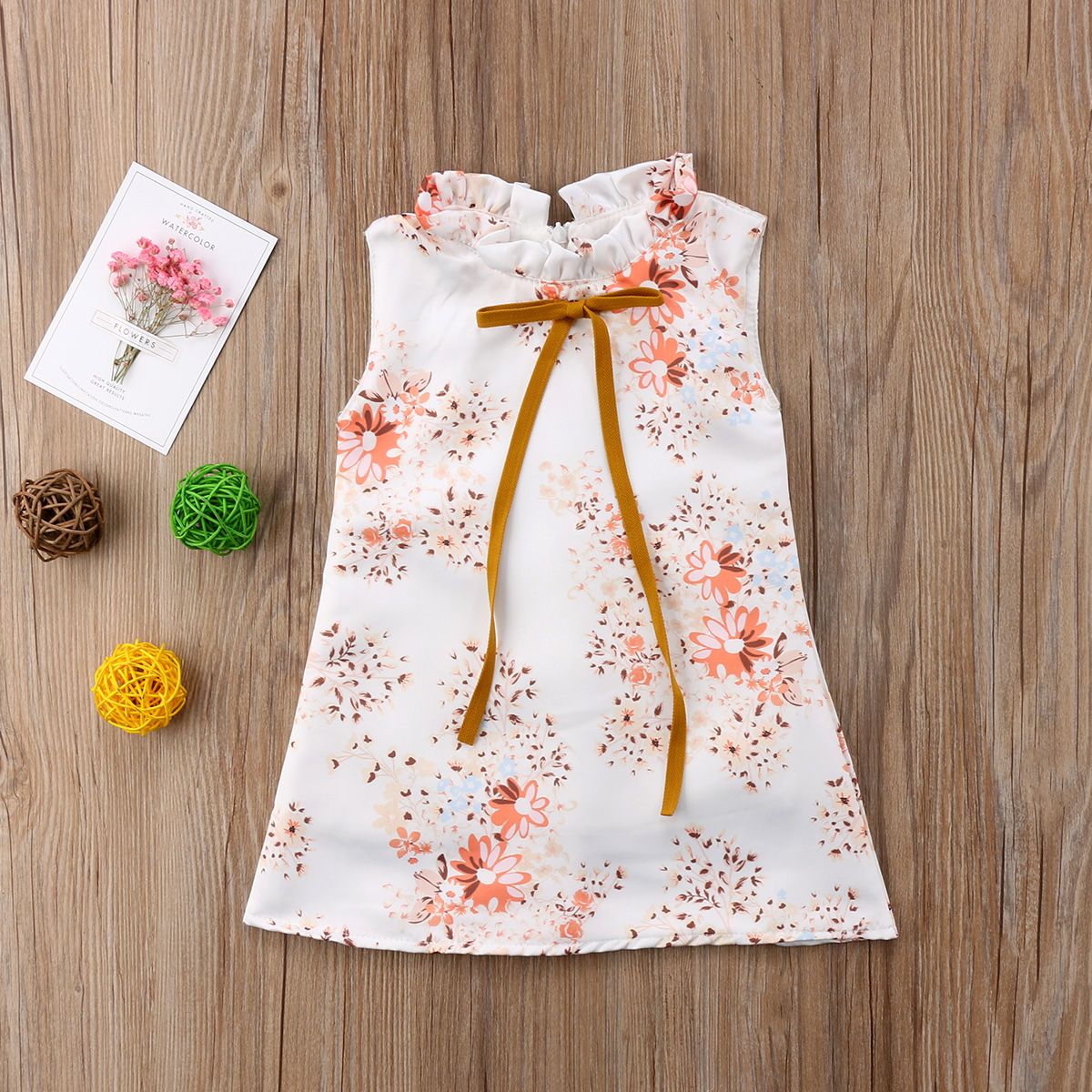 2018 FOCUSNORM Cute Toddler Kids Baby Girls Princess Sleeveless Floral  Ribbons Dress Party Clothes Summer