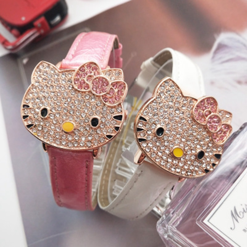 Hot Sales Cute Leather Watch Children Girls Women Crystal Dress Quartz Wristwatch Relojes