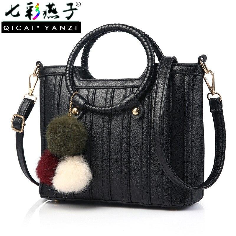 QICAI YANZI Women Luxury Bags Socialite Bracelet Handle Totes Lady Leather Hairballs Pendant Handbags Mujer Bolso