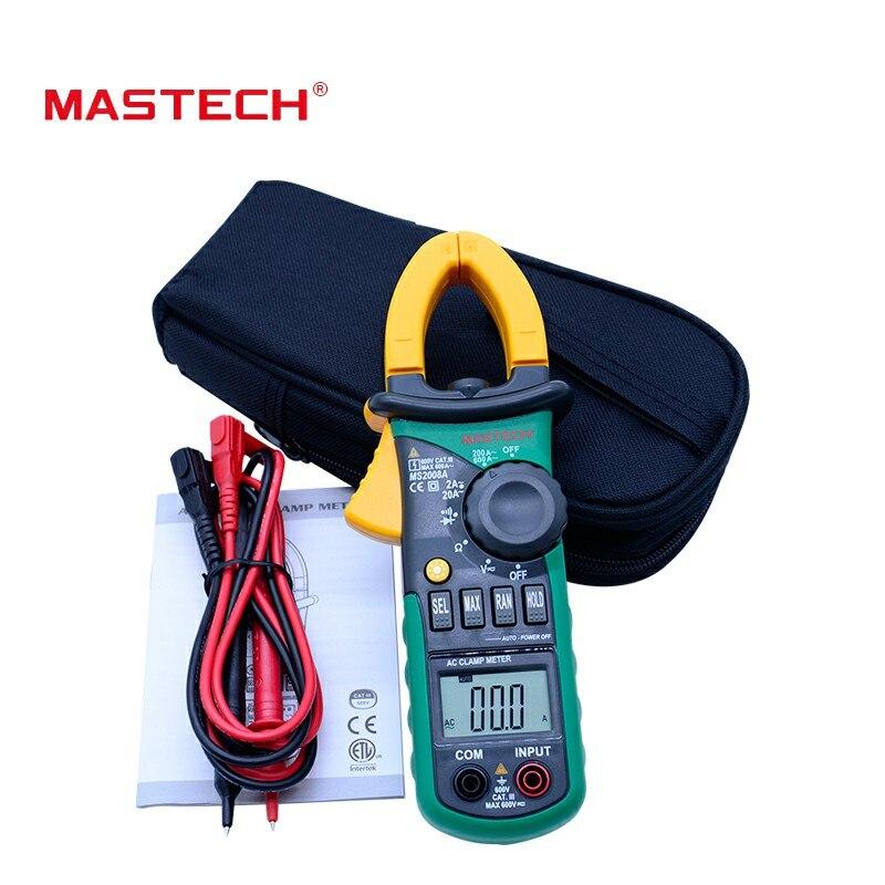 MASTECH MS2008A Digital abrazadera metros Auto de la gama de pinza medidor voltímetro amperímetro ohmímetro w/retroiluminación de la pantalla LCD