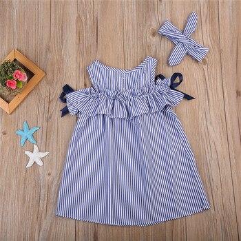 Summer Off Shoulder Dress For Girls Cute Newborn Baby Girls Short Sleeve Dress Princess Party Dresses 2018 New Striped Vestidos 1