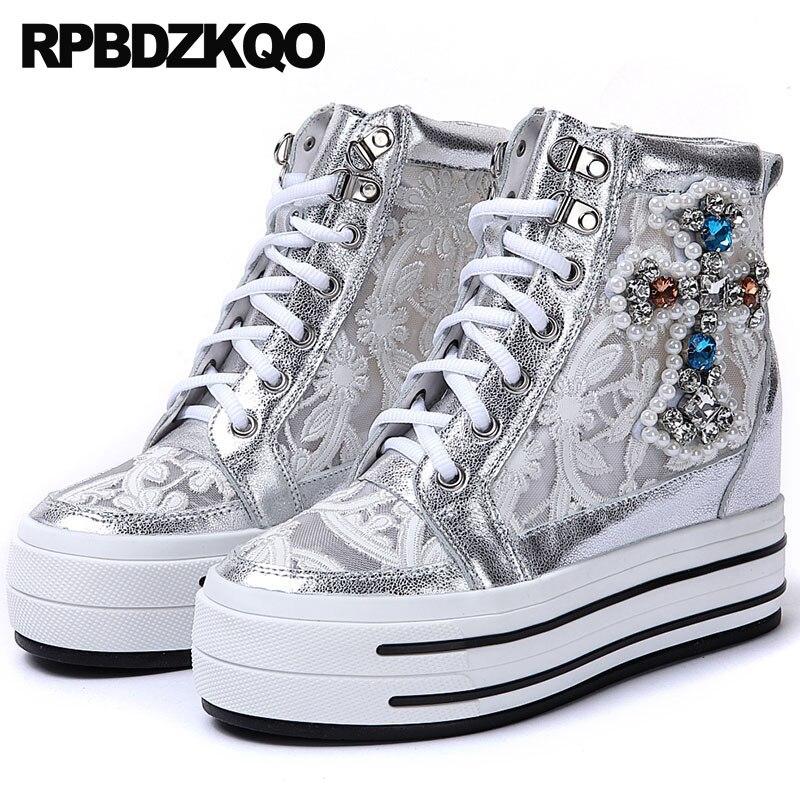 Perla Del Zapatos Plata Mujeres Diamante Zapatillas Cuña