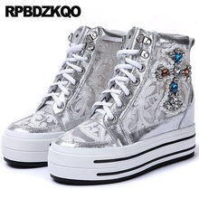 Trainers Harajuku White Creepers Platform Shoes Breathable Wedge Women  Diamond Lace Pearl Mesh Silver High Top 1a67203af1c2