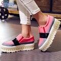 Прилив Женщины Сдобы Нижние Обувь Баллок Pearl 2016 Платформы Модные Девушки Обувь Толстым дном Студентка Горячие Обувь