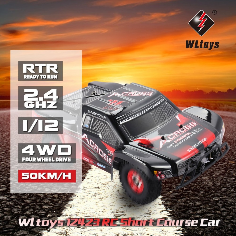 Wltoys 12423 1/12 2.4G 4WD High speed Electric Brushed Short Course Off-Road Buggy Vehicle RTR RC Car with LED Light цена